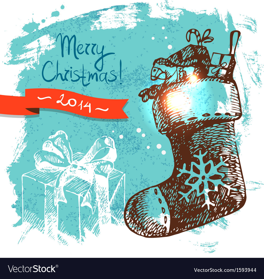Hand drawn vintage christmas background vector | Price: 1 Credit (USD $1)