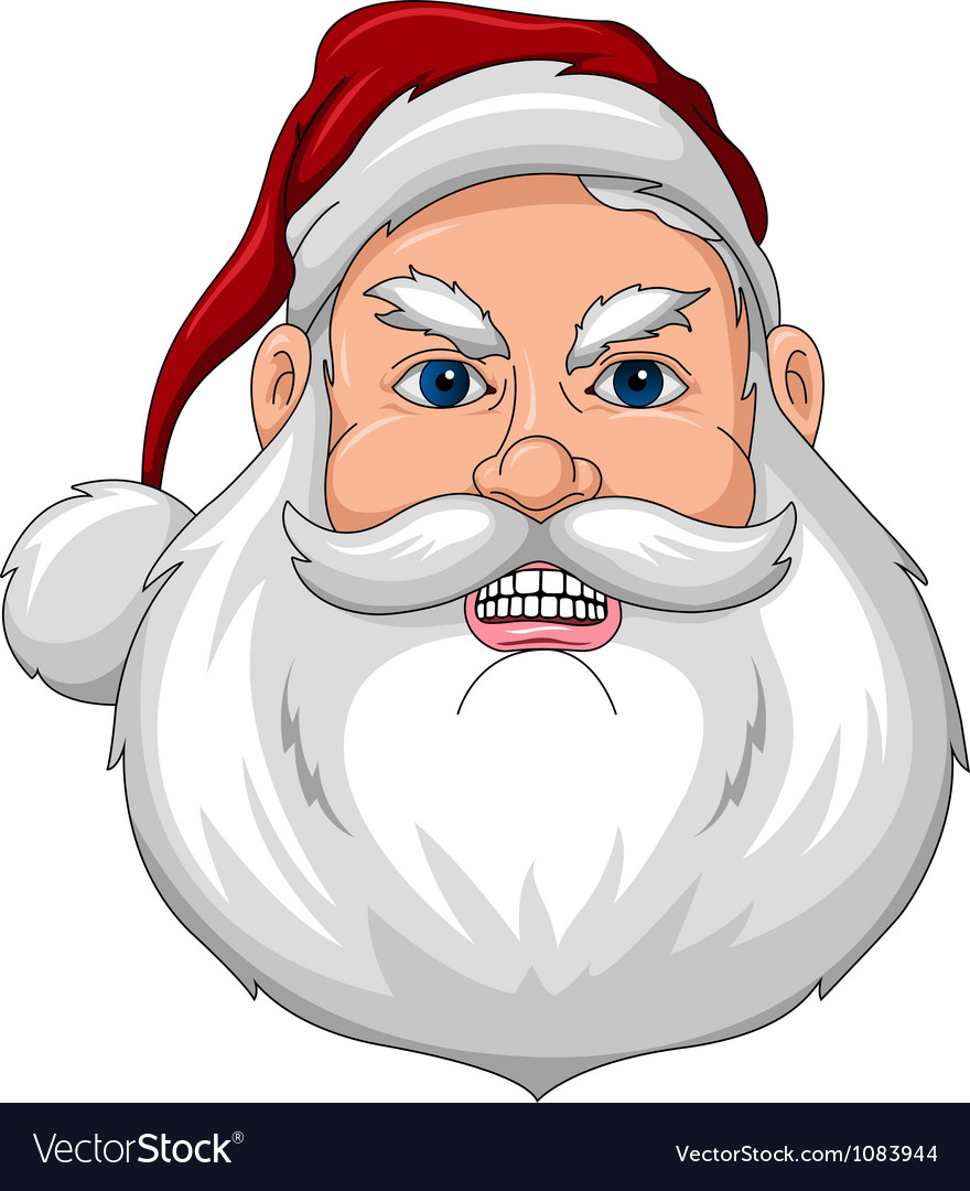 Santa angry face front vector | Price: 1 Credit (USD $1)
