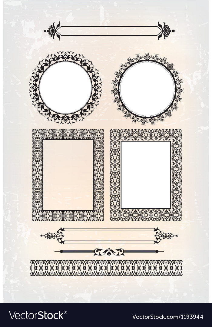 Set of abstract baroque pattern vector | Price: 1 Credit (USD $1)