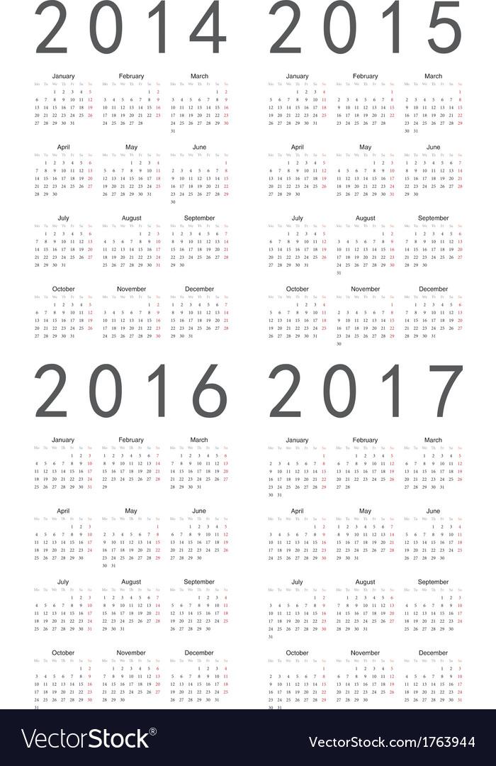 Set of european 2014 2015 2016 2017 calendars vector   Price: 1 Credit (USD $1)