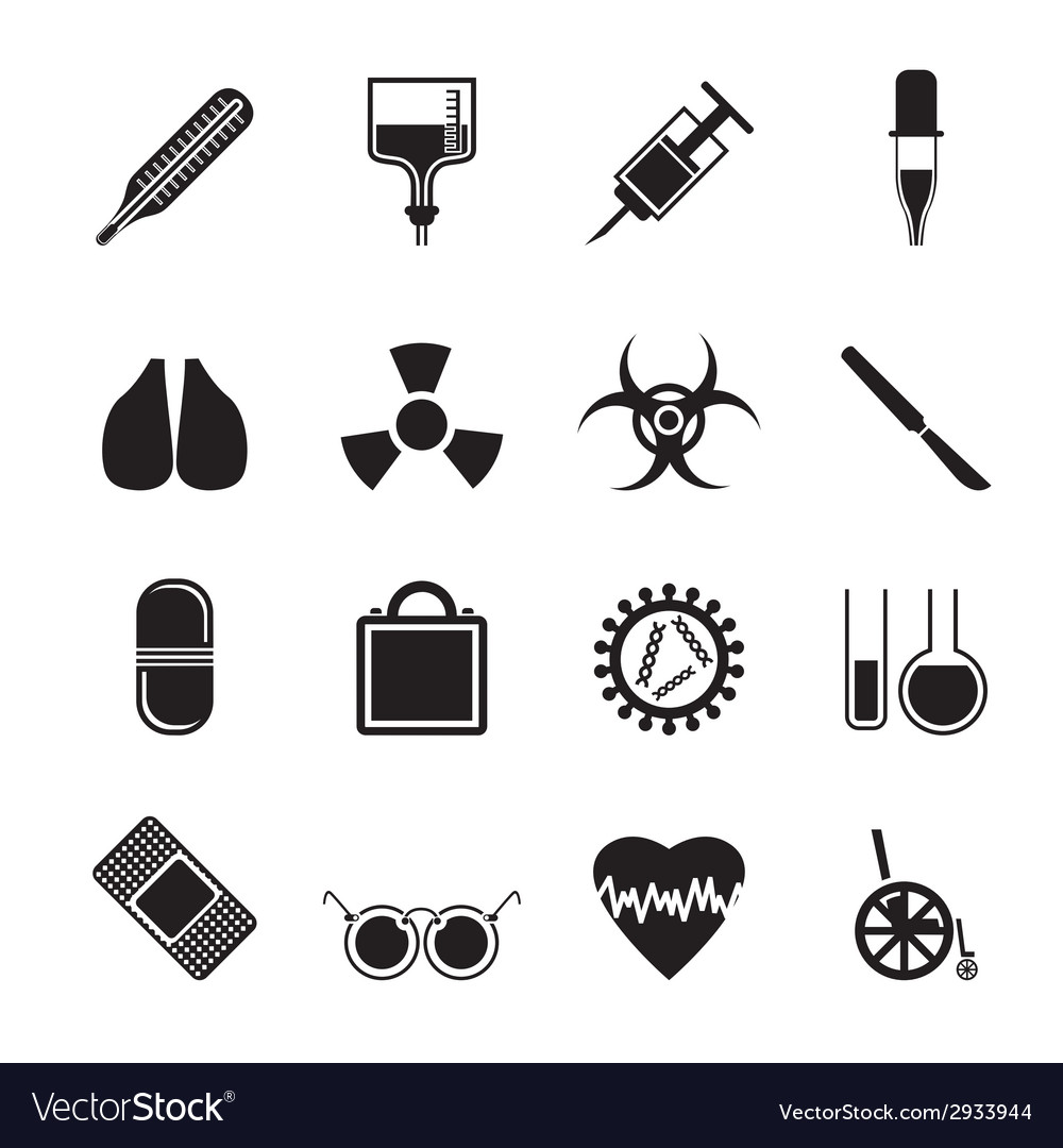 Silhouette collection of medical themed icons vector | Price: 1 Credit (USD $1)