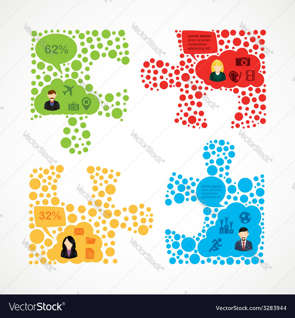 Social media team work puzzle infographic vector | Price: 1 Credit (USD $1)
