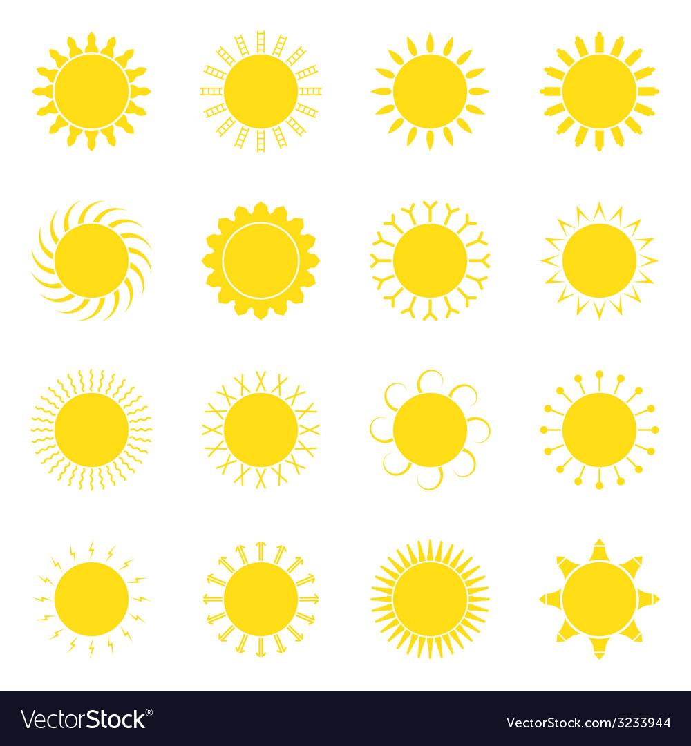 Sun icon set vector   Price: 1 Credit (USD $1)