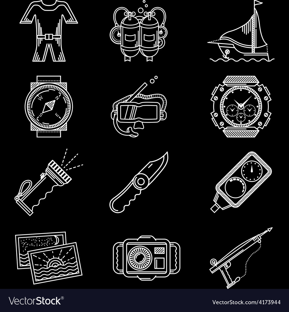 White line icons for diving vector | Price: 1 Credit (USD $1)