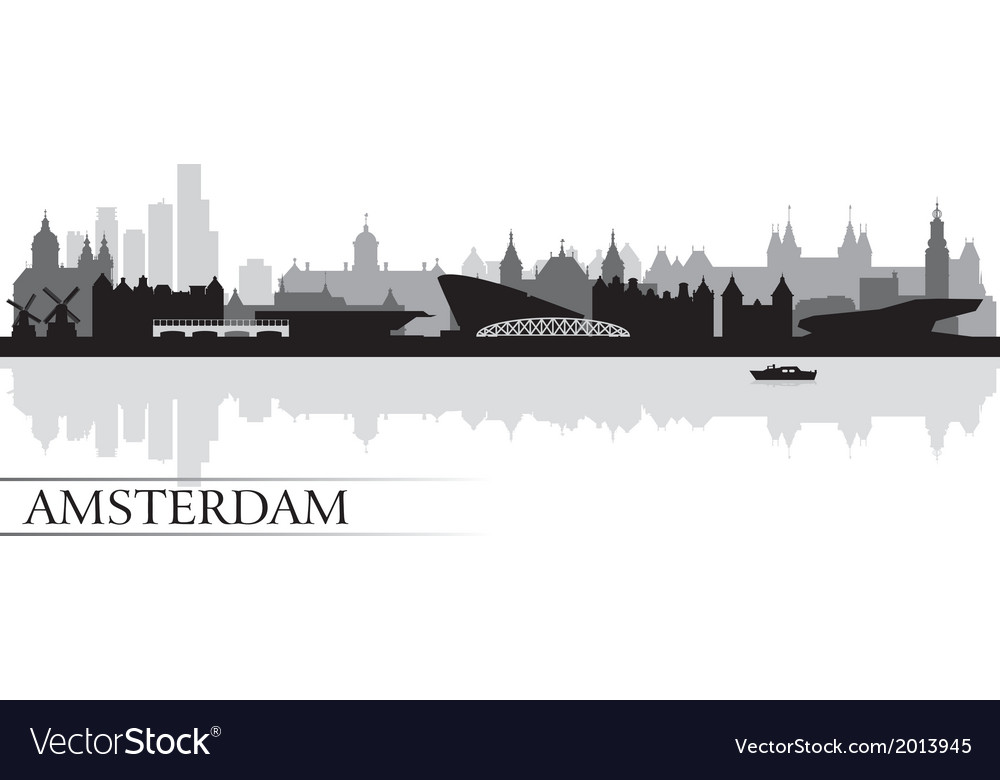 Amsterdam city skyline silhouette background vector | Price: 1 Credit (USD $1)