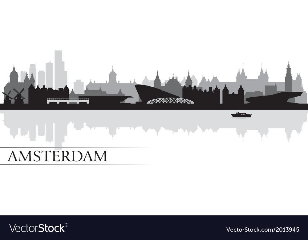 Amsterdam city skyline silhouette background vector | Price: 1 Credit (USD $1)