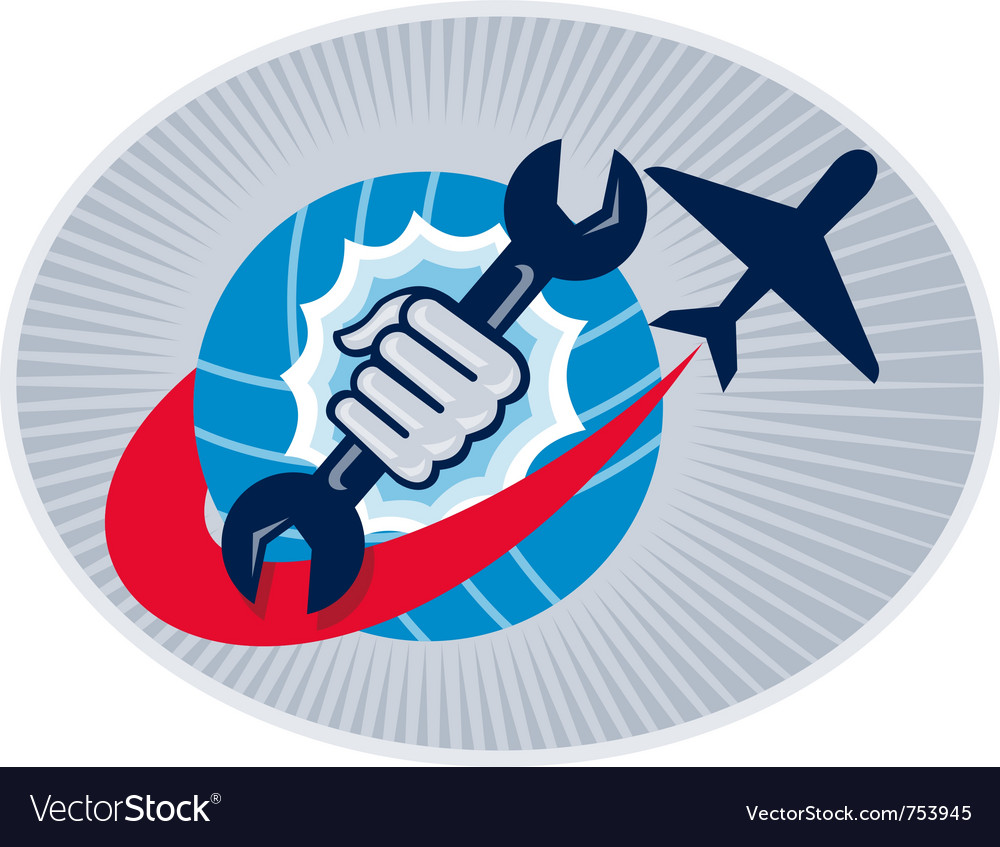 Aviation mechanic hand holding a spanner with vector | Price: 1 Credit (USD $1)