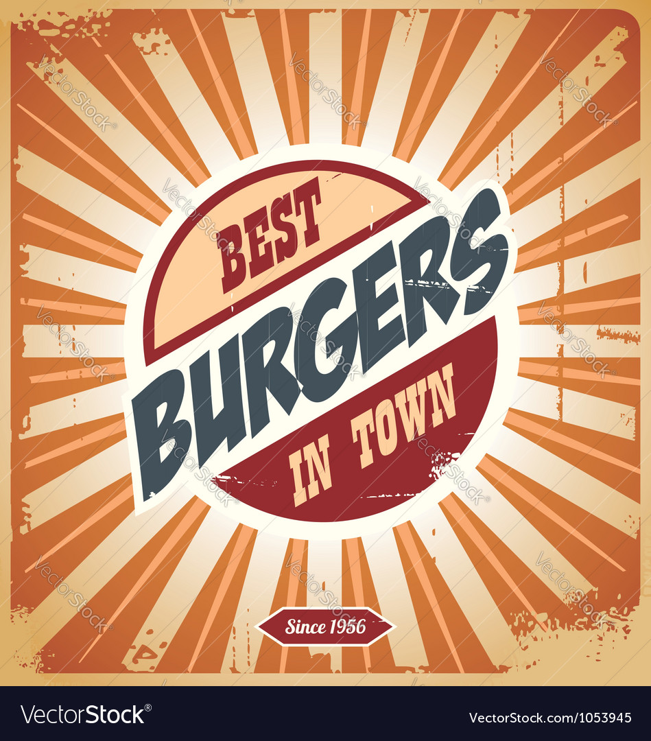 Retro burger sign vintage poster template vector