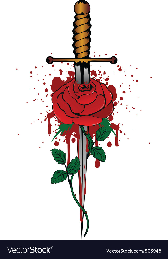 Rose and dagger vector | Price: 1 Credit (USD $1)