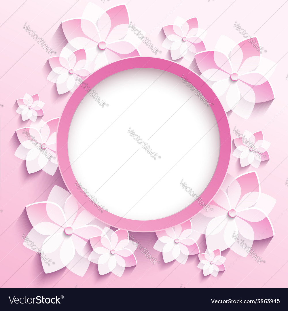 Round frame with 3d pink sakura greeting card vector | Price: 1 Credit (USD $1)