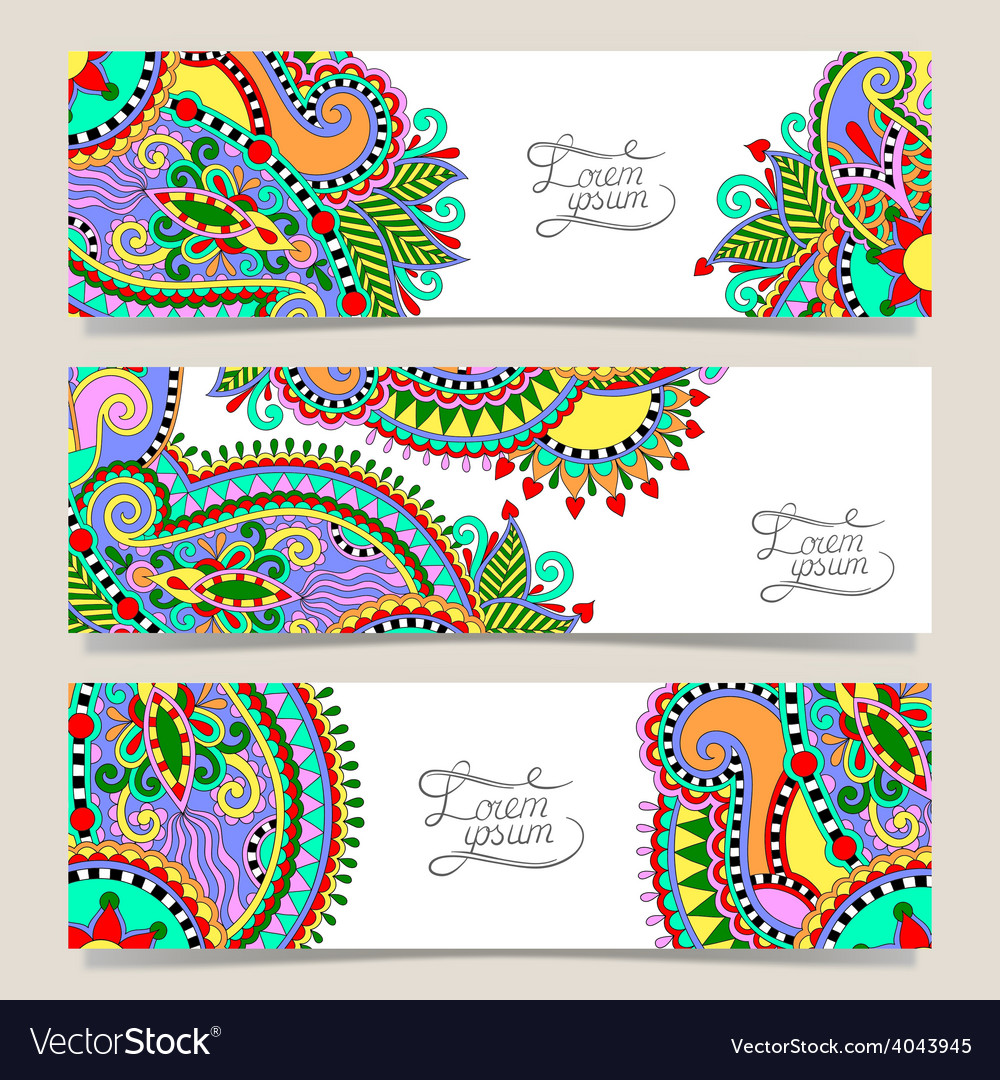 Set of three horizontal banners with decorative vector | Price: 1 Credit (USD $1)