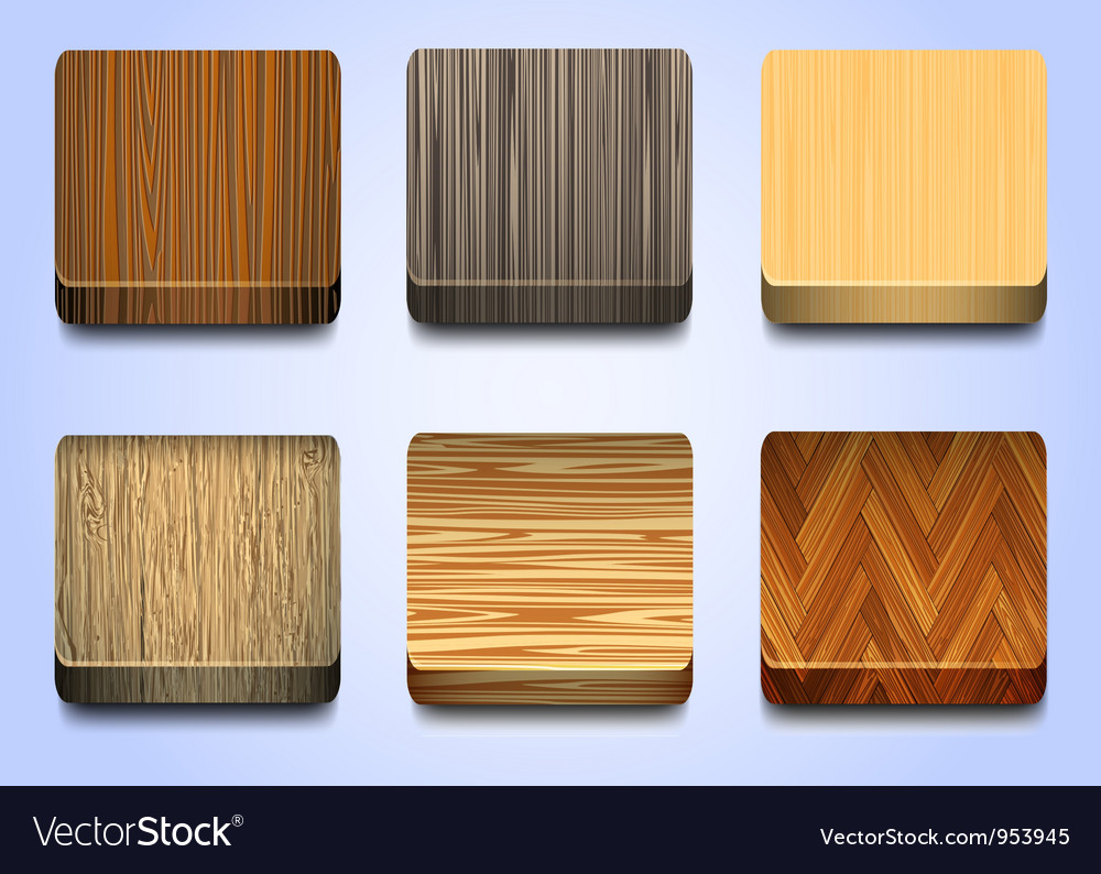 Six icons with wooden texture vector | Price: 1 Credit (USD $1)