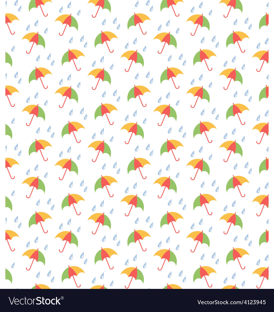 Spring seamless pattern with umbrellas and rain vector | Price: 1 Credit (USD $1)