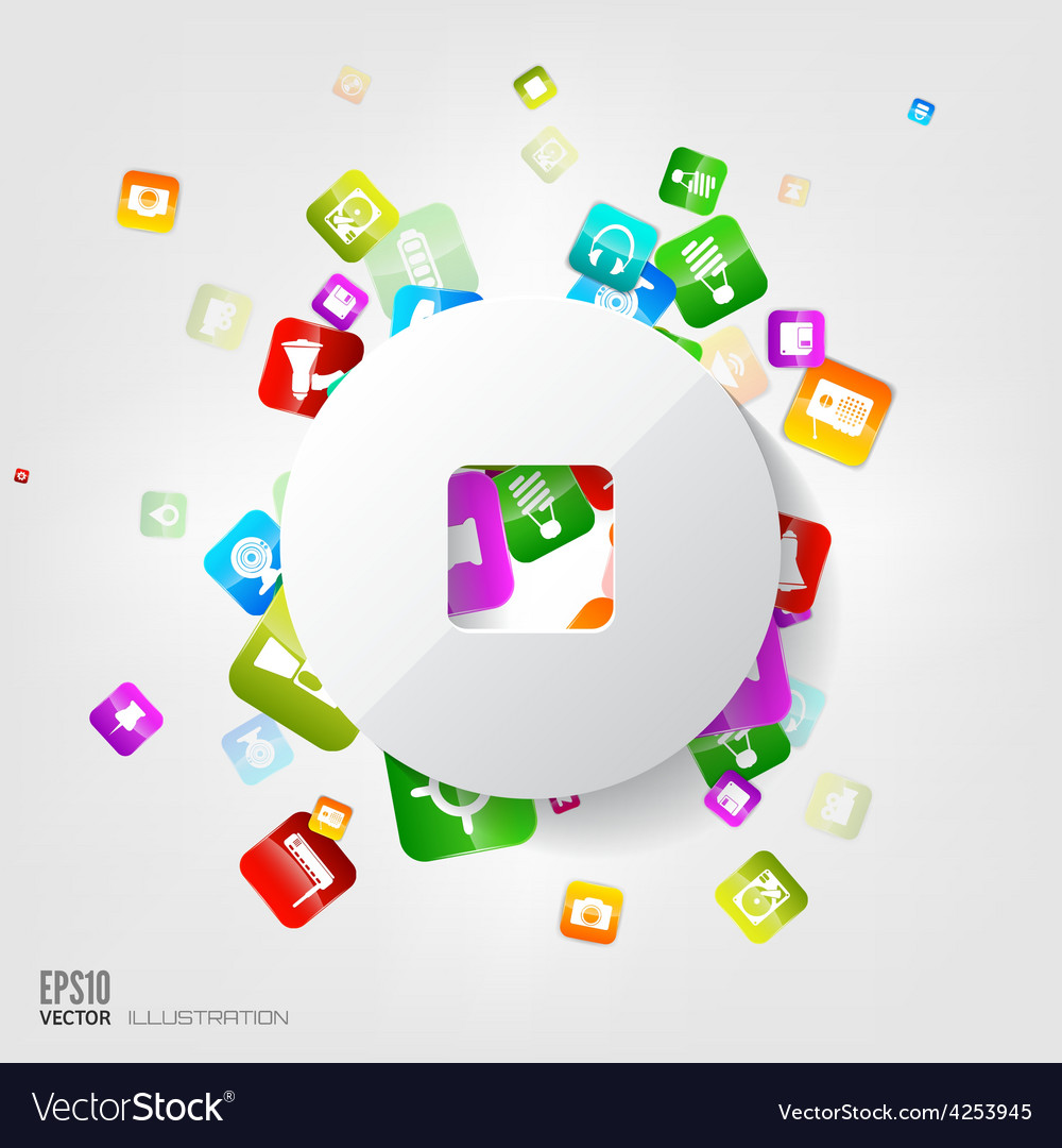 Stop button icon application buttonsocial media vector | Price: 3 Credit (USD $3)