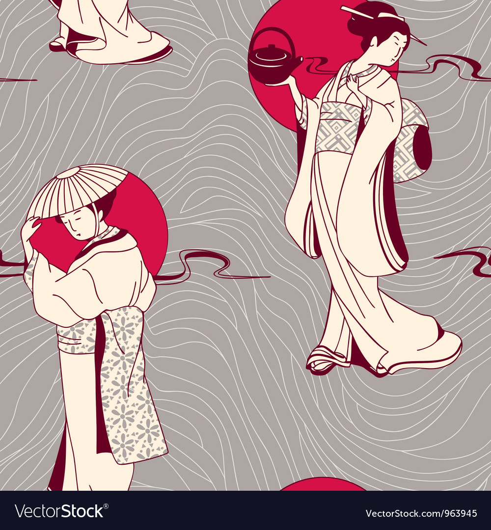 Traditional japanese geisha seamless pattern vector | Price: 1 Credit (USD $1)