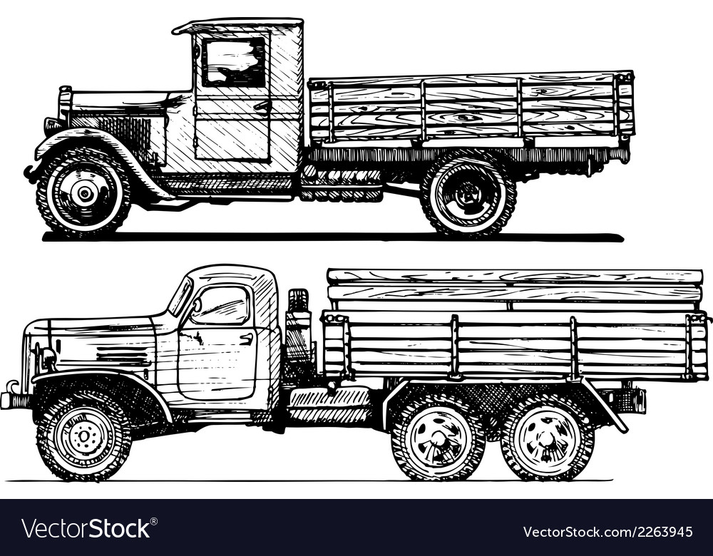 Two vintage car vector | Price: 1 Credit (USD $1)