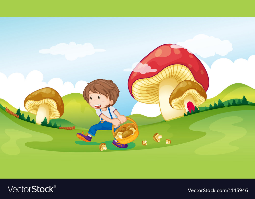 A kid and the mushrooms vector | Price: 1 Credit (USD $1)