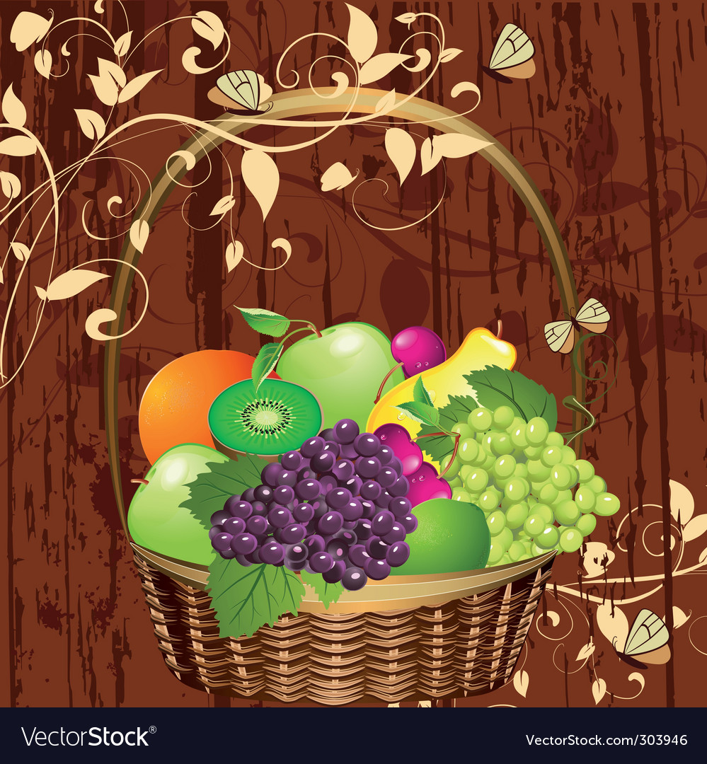 Basket of fruit vector | Price: 3 Credit (USD $3)