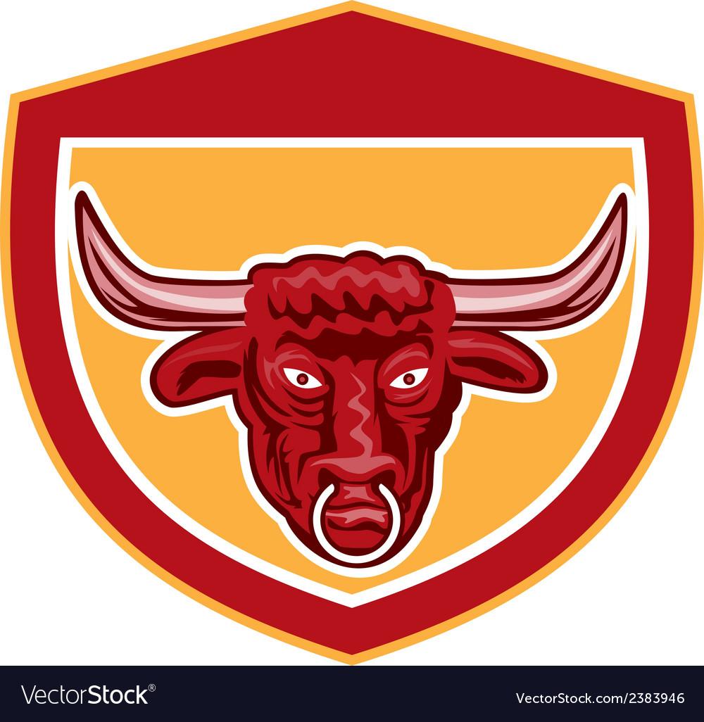 Bull head front view crest retro vector   Price: 1 Credit (USD $1)