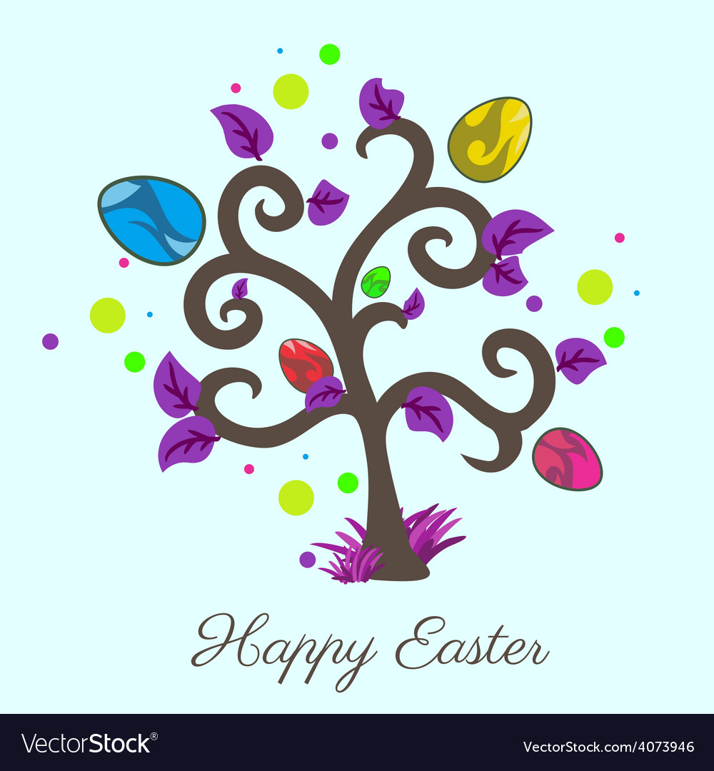 Easter tree holiday card violet color vector | Price: 1 Credit (USD $1)