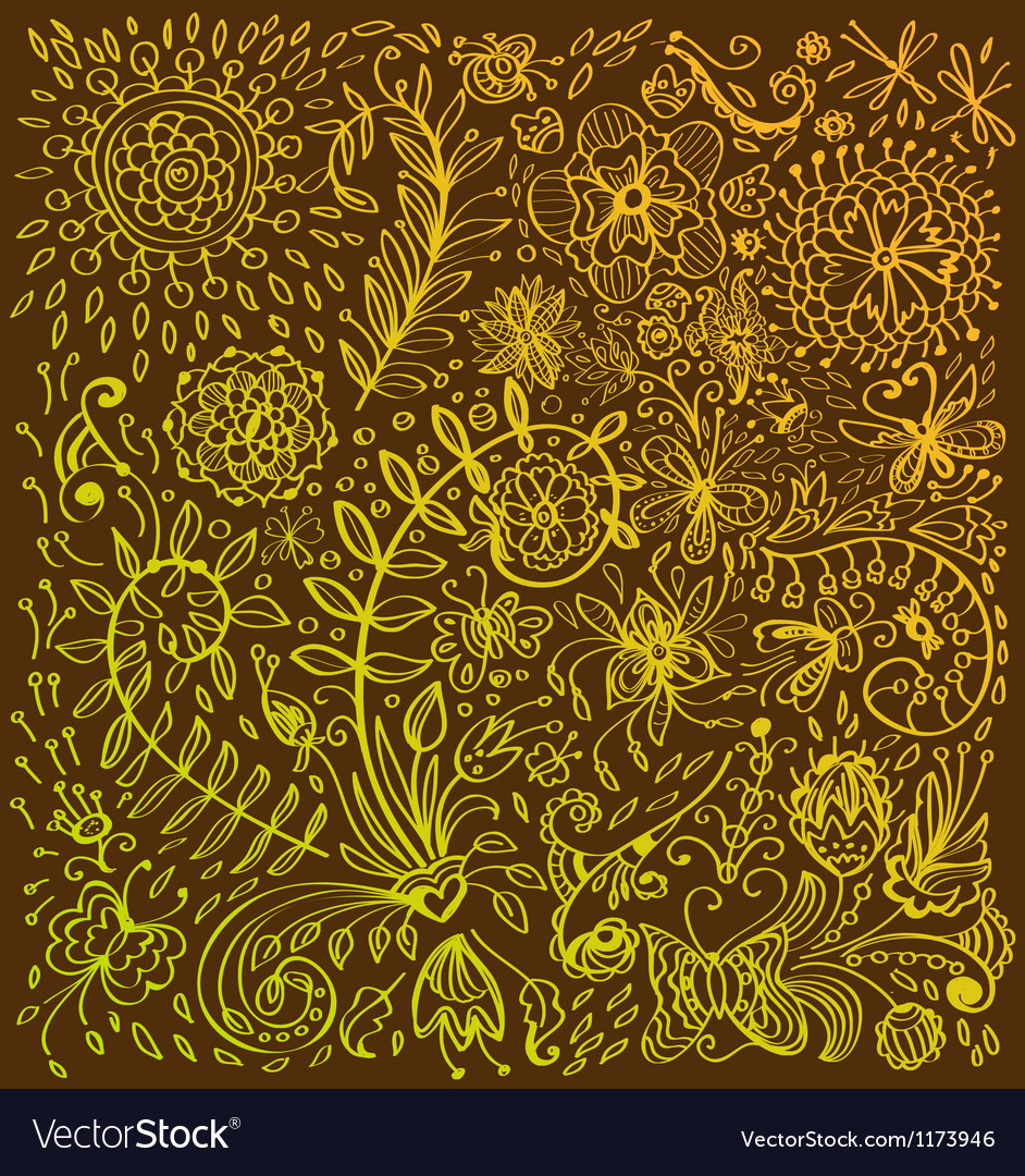 Floral doodle background vector | Price: 1 Credit (USD $1)