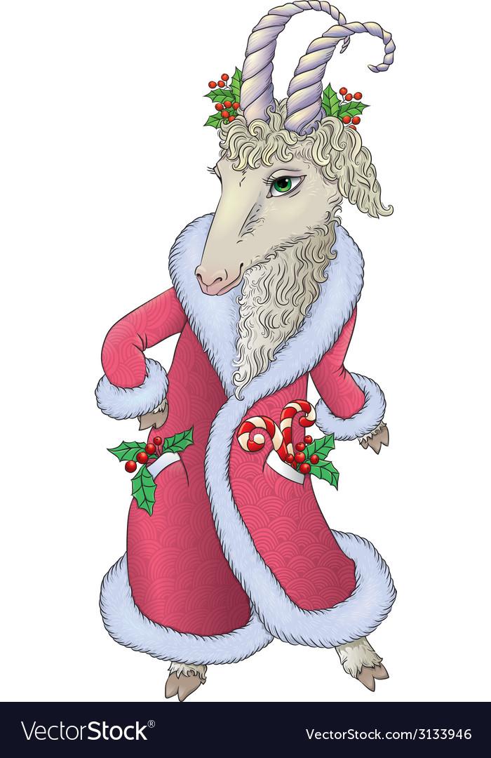 Goat in santa coat vector | Price: 1 Credit (USD $1)