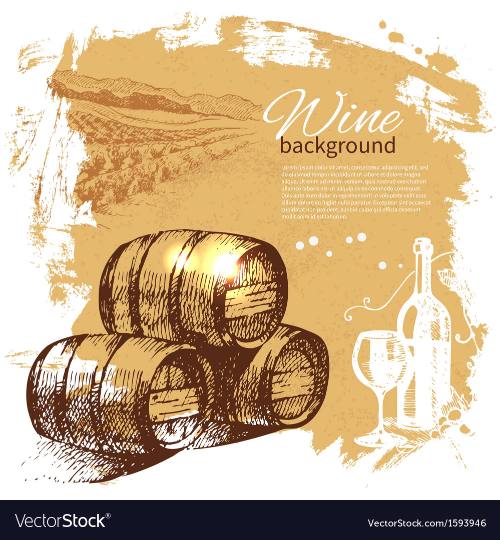 Hand drawn wine vintage background vector | Price: 1 Credit (USD $1)