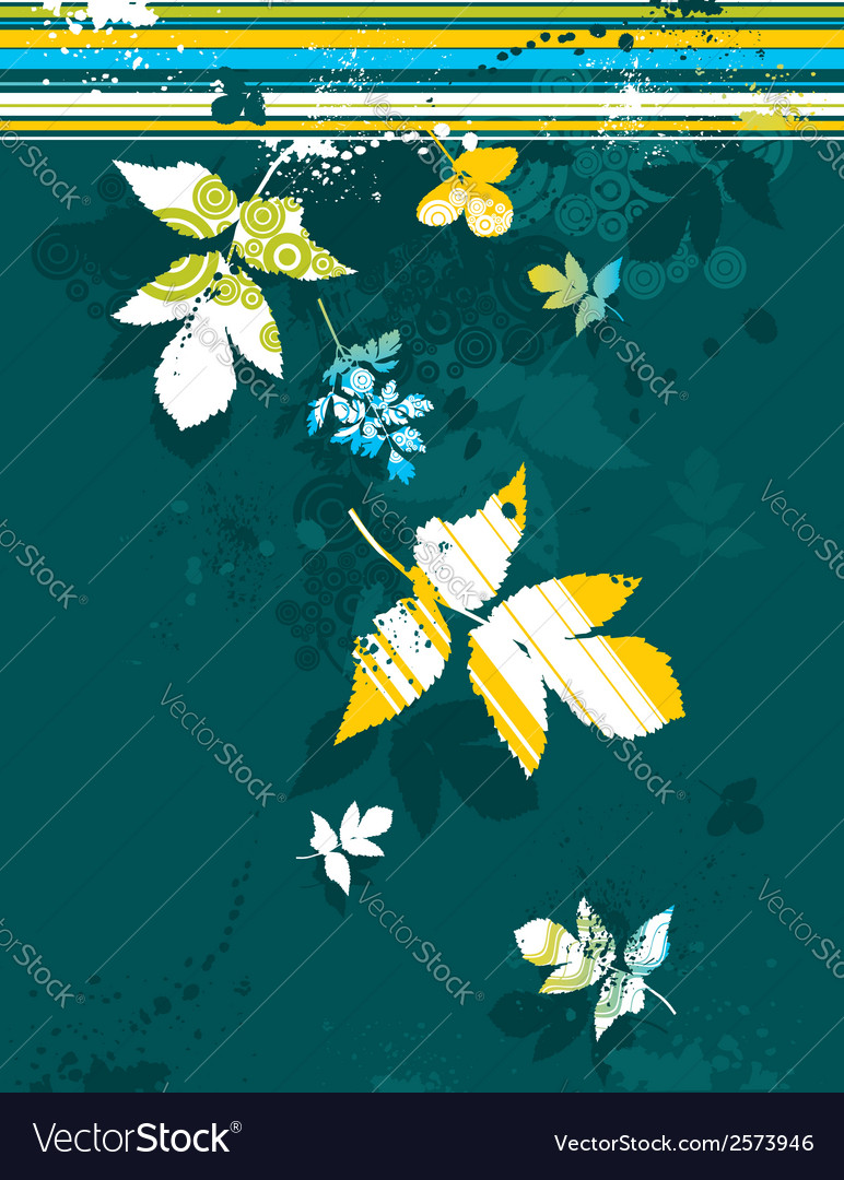 Many tracing silhouettes grass leafs flower ve vector | Price: 1 Credit (USD $1)