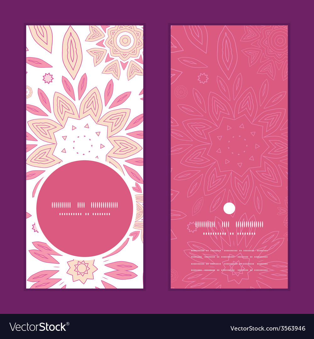 Pink abstract flowers vertical round frame pattern vector | Price: 1 Credit (USD $1)