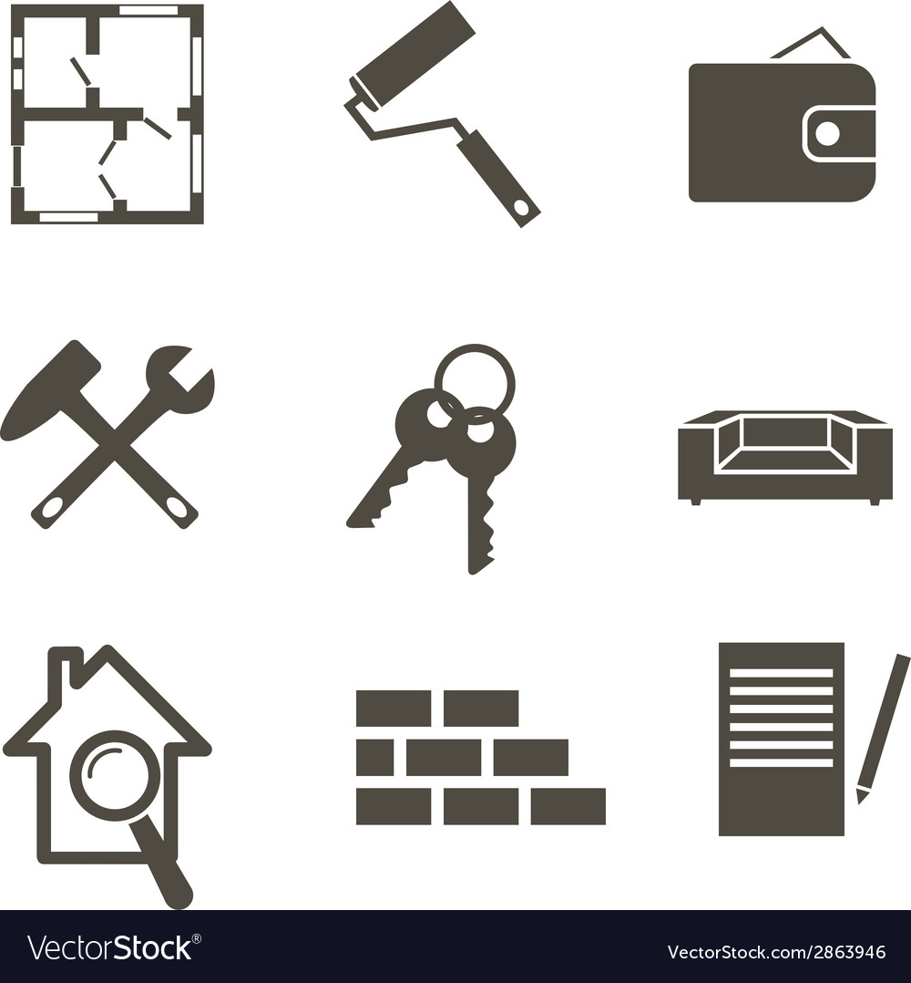 Real estate icon set vector | Price: 1 Credit (USD $1)
