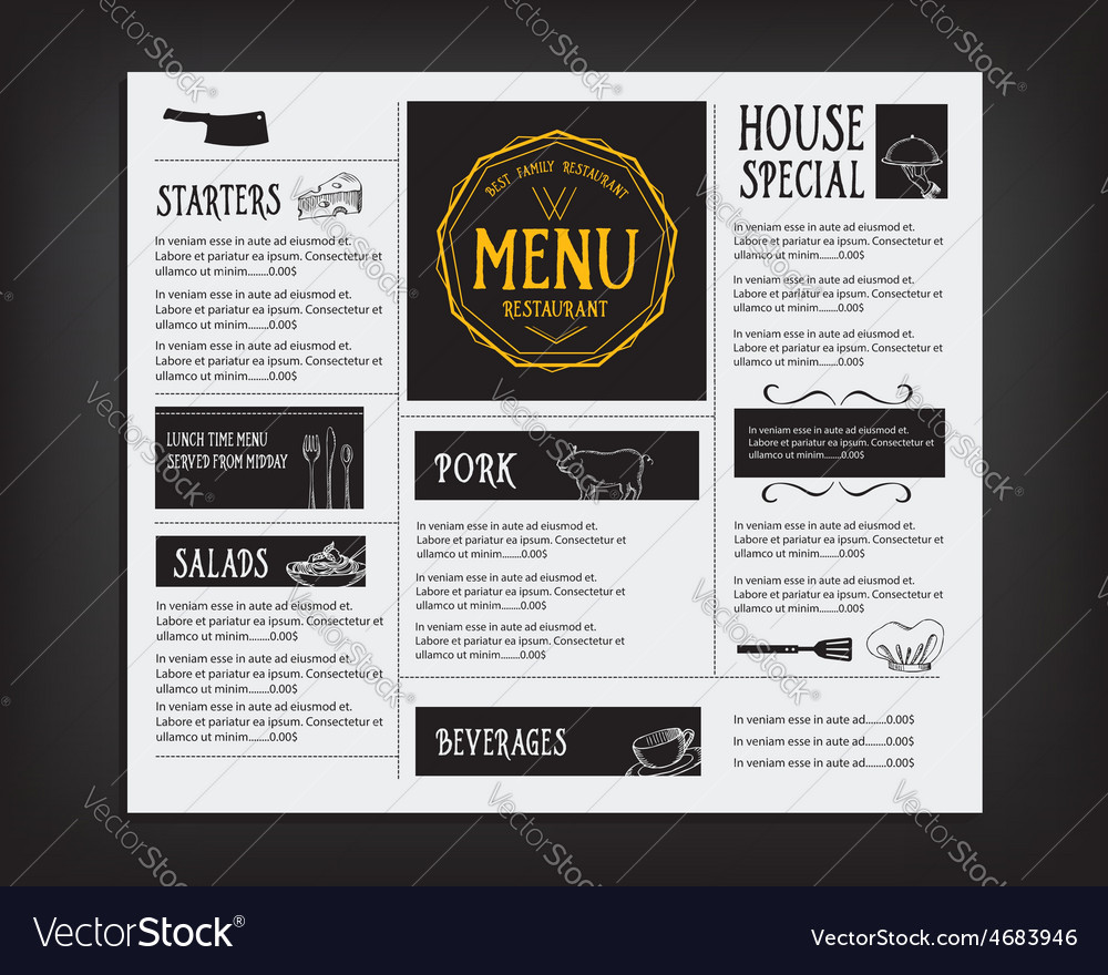 Restaurant cafe menu template design food flyer vector | Price: 1 Credit (USD $1)