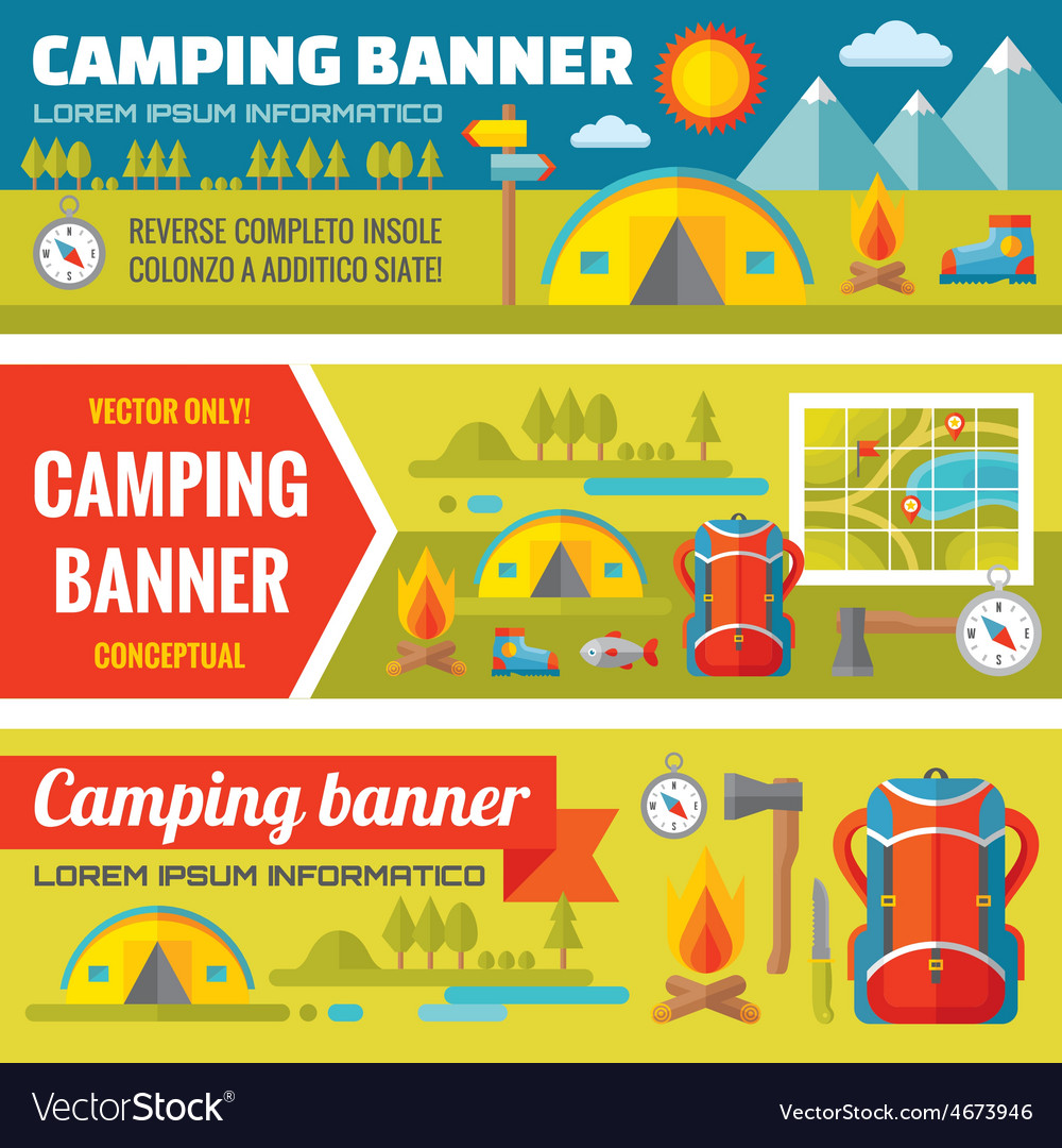 Summer camping - mountain expedition adventures vector | Price: 1 Credit (USD $1)