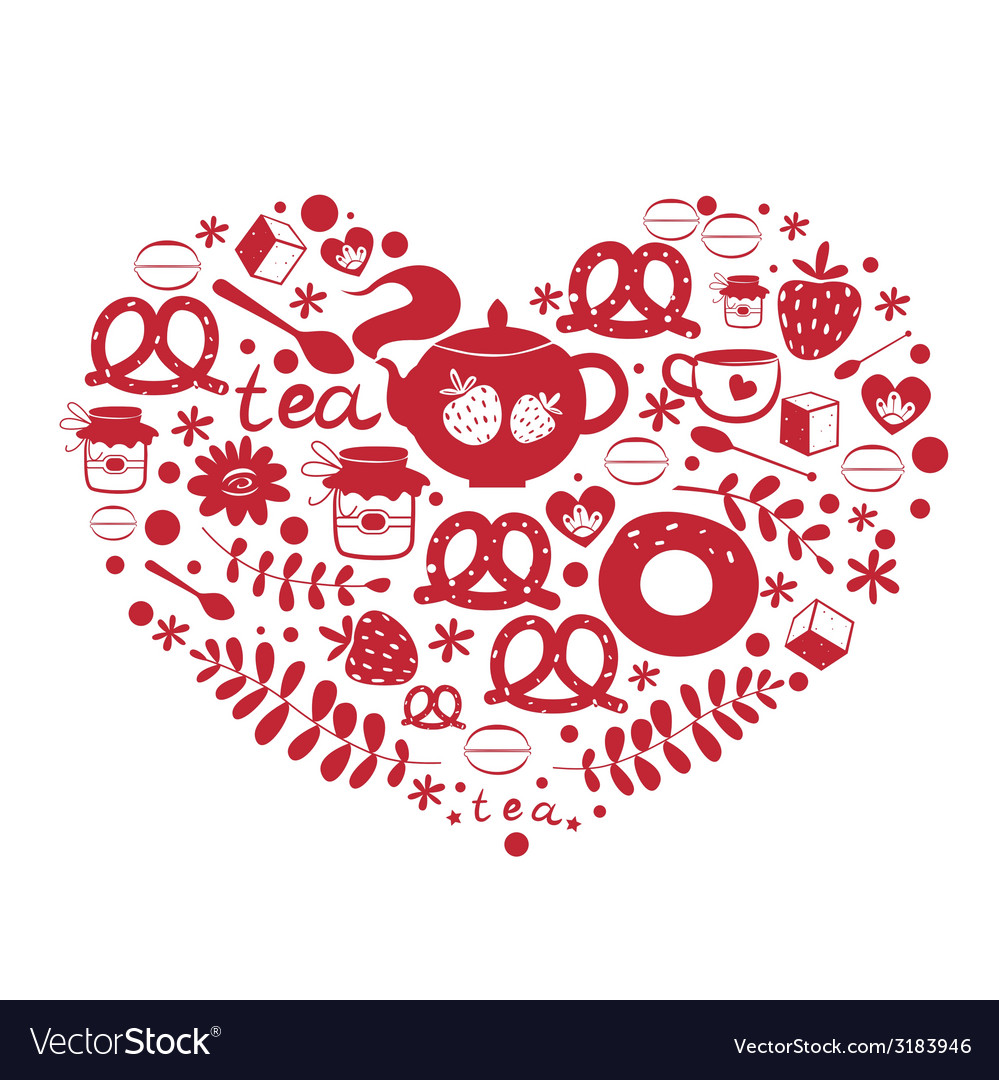 Tea with sweets ornamental heart vector | Price: 1 Credit (USD $1)