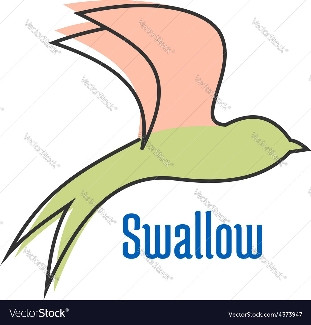 Abstract silhouette of flying swallow bird vector | Price: 1 Credit (USD $1)