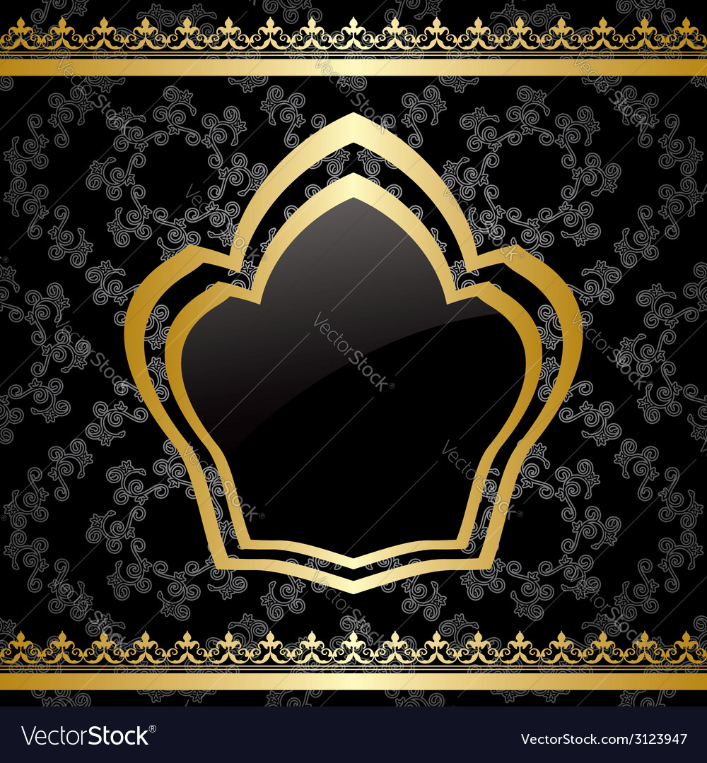 Black background with golden heraldic frame vector | Price: 1 Credit (USD $1)