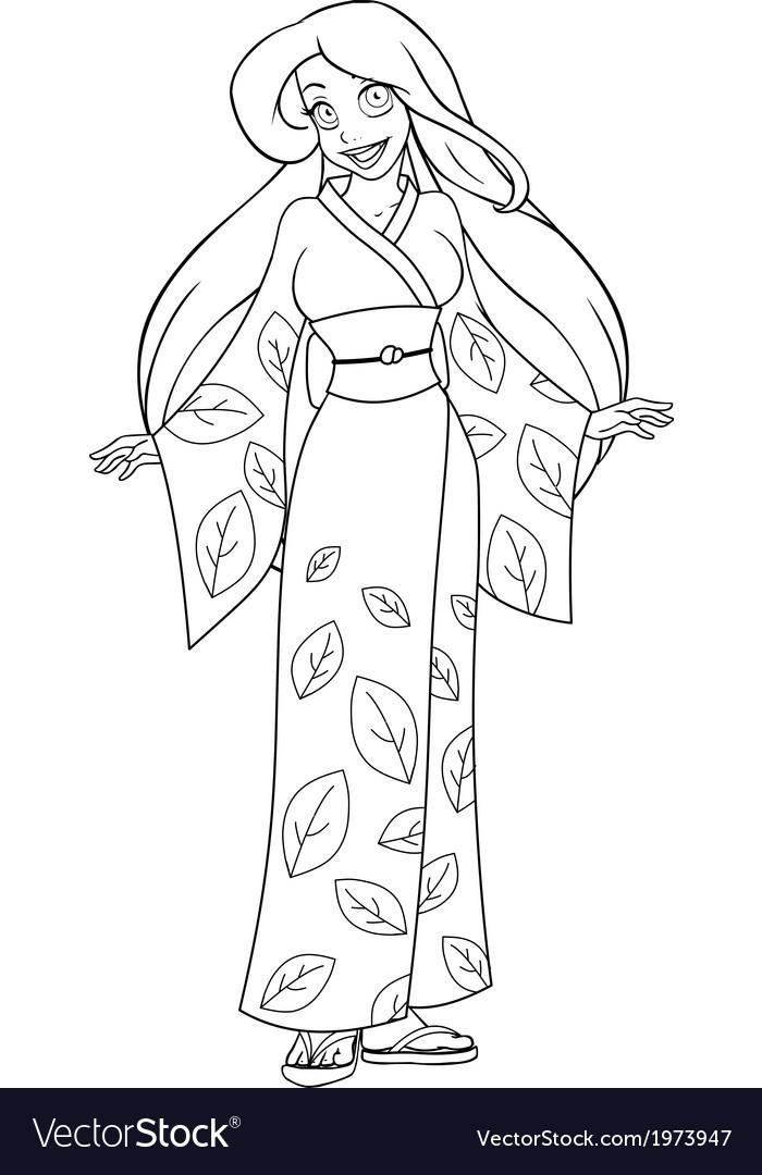 Caucasian woman in kimono coloring page vector | Price: 1 Credit (USD $1)