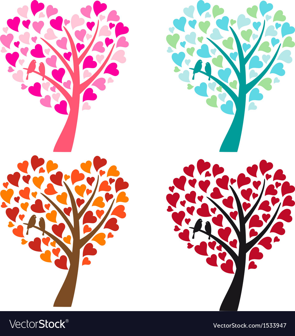 Heart shaped tree with birds vector | Price: 1 Credit (USD $1)