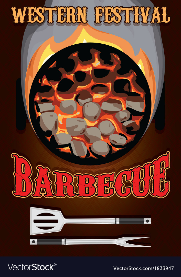 Retro poster with hot coals for barbecue vector | Price: 1 Credit (USD $1)