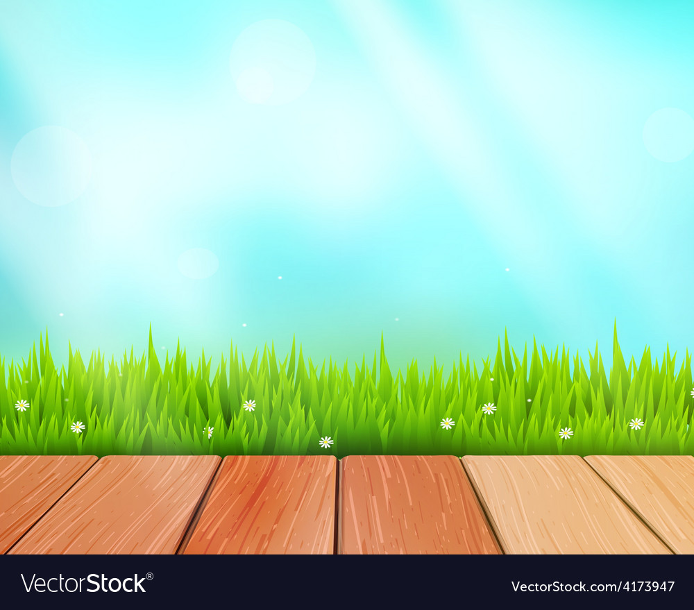Rustic wooden planks and grass on blue vector | Price: 3 Credit (USD $3)