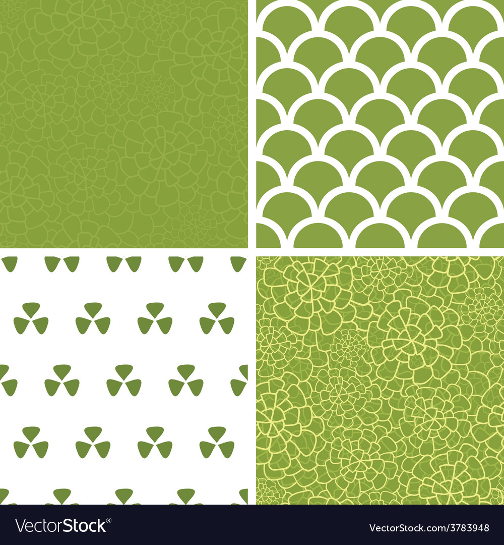Abstract green natural texture set of four vector | Price: 1 Credit (USD $1)