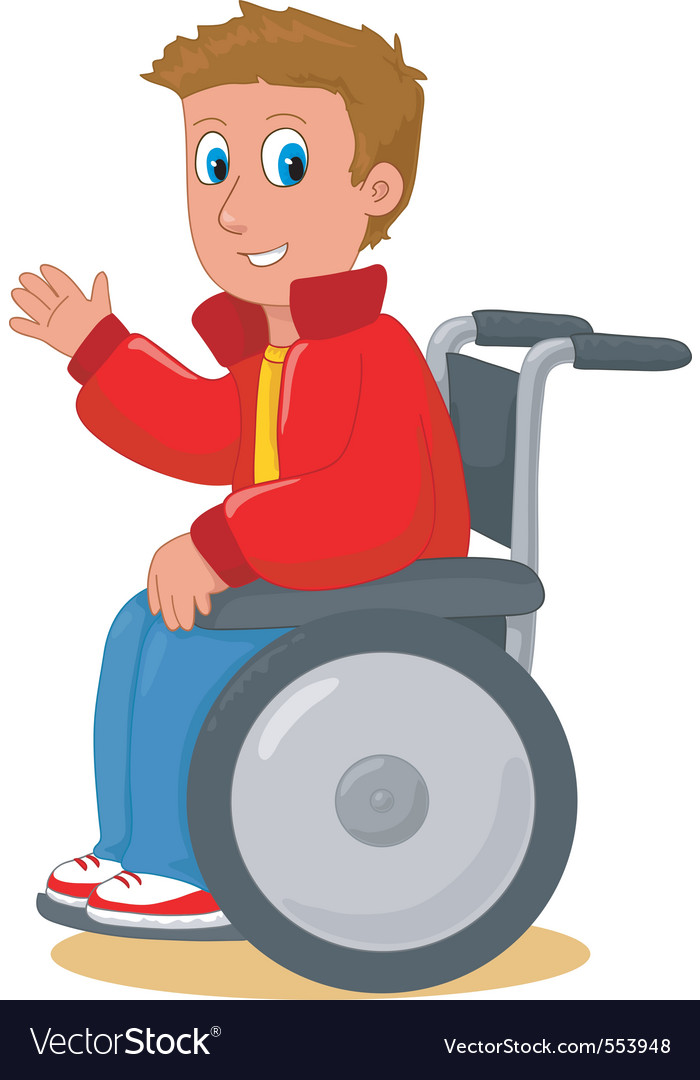 Boy on wheelchair vector | Price: 1 Credit (USD $1)