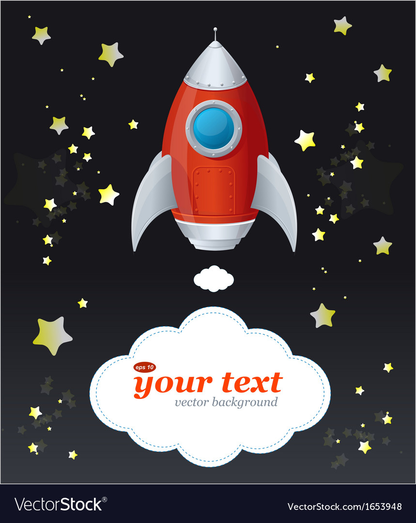 Comic cartoon rocket space ship and text vector   Price: 1 Credit (USD $1)