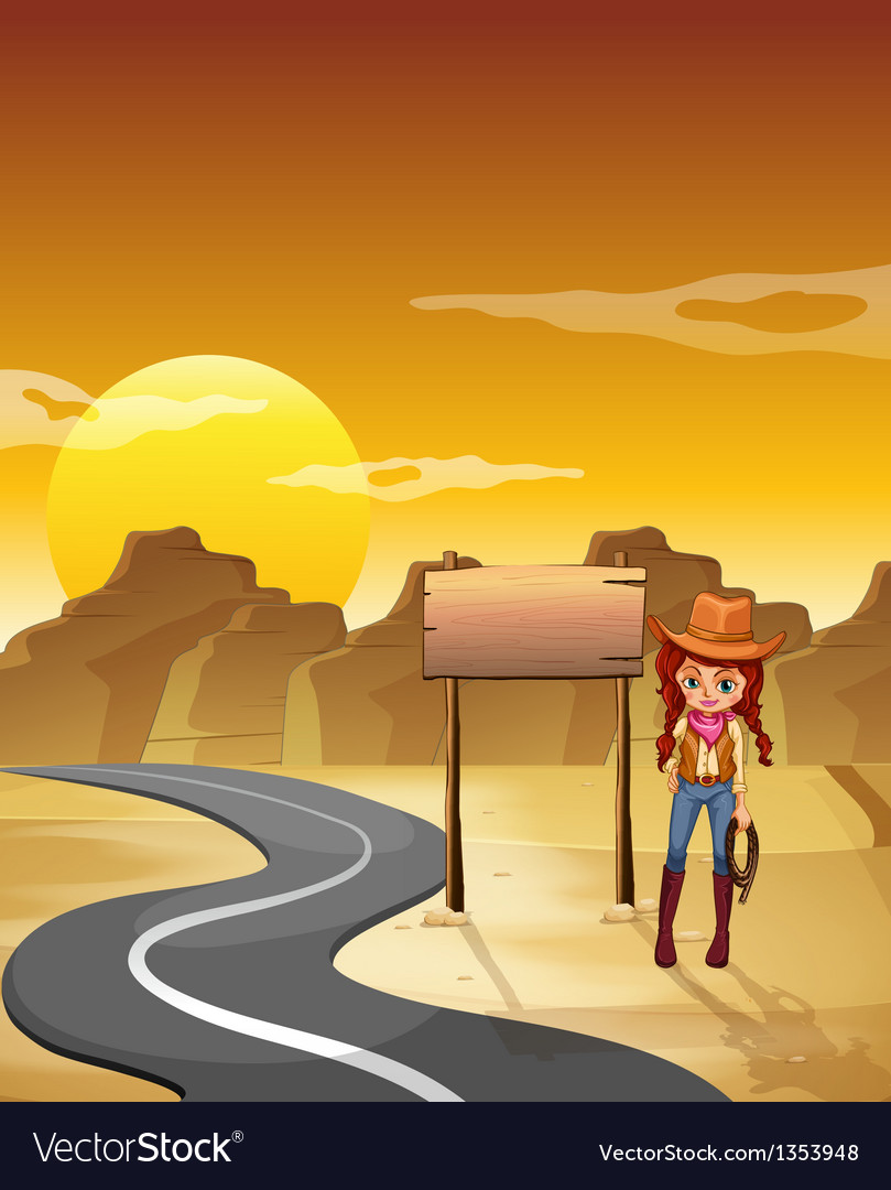Cowgirl road signboard vector | Price: 1 Credit (USD $1)