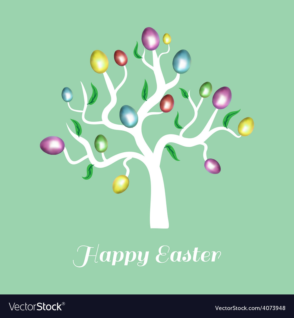 Easter tree white holiday card blue vector | Price: 1 Credit (USD $1)