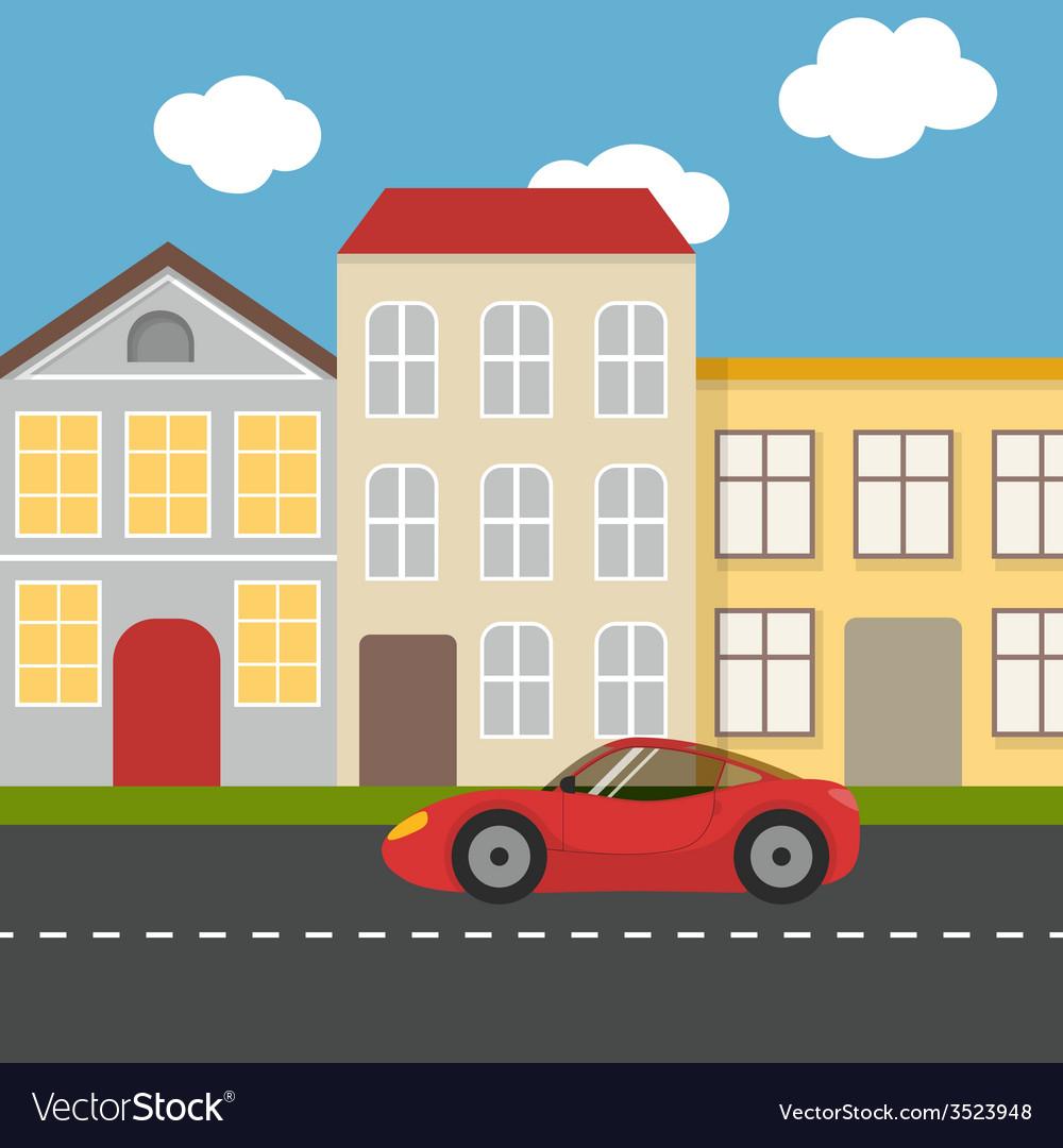 Flat urban landscape vector | Price: 1 Credit (USD $1)