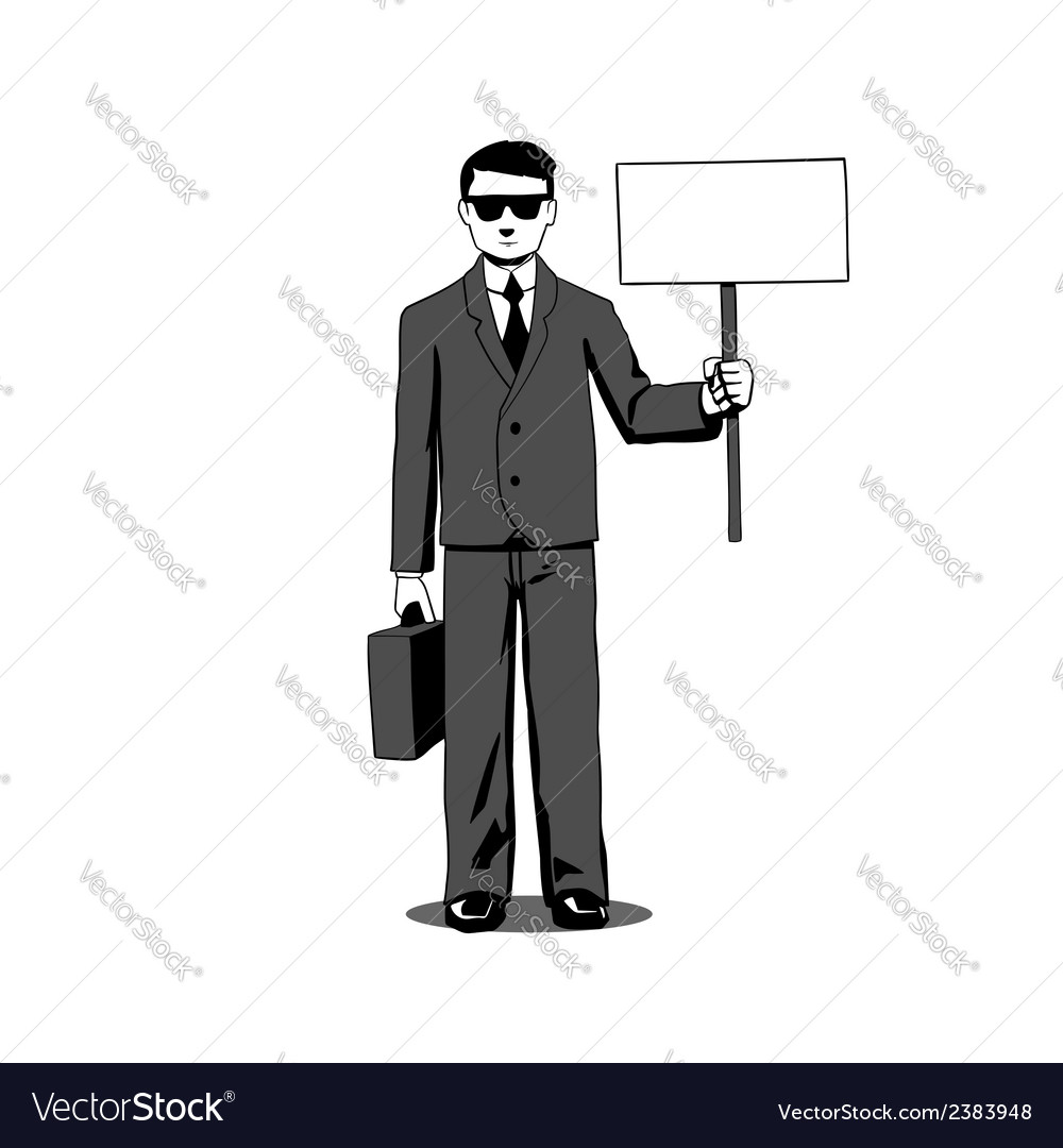 Lawyer with signboard vector | Price: 1 Credit (USD $1)