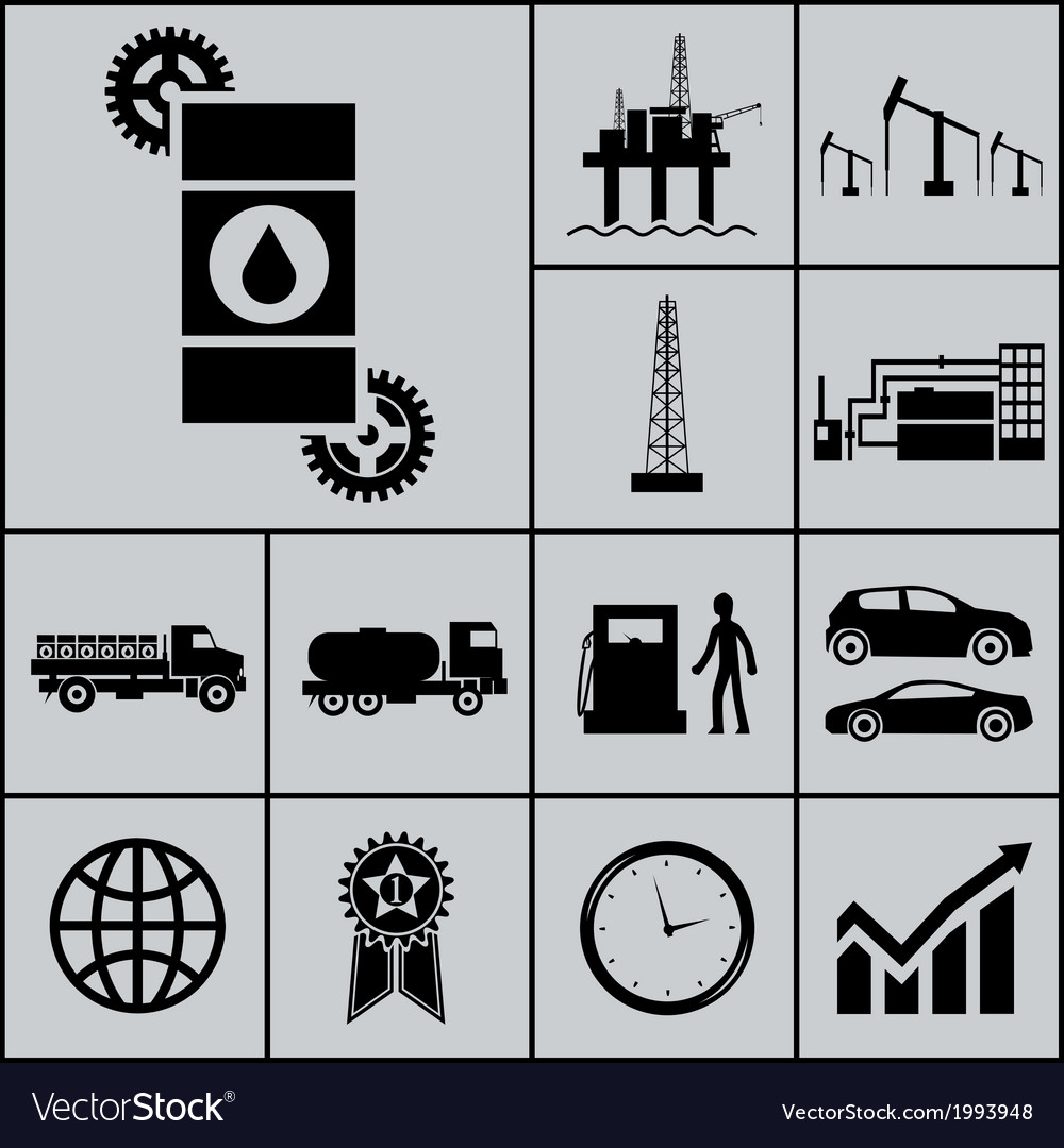 Oil extraction processing use icons and symbols vector | Price: 1 Credit (USD $1)