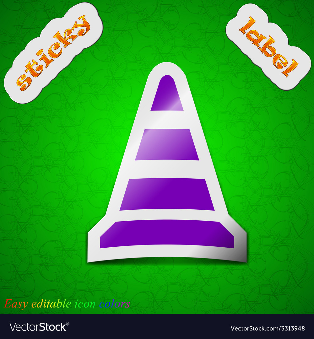 Road cone icon sign symbol chic colored sticky vector | Price: 1 Credit (USD $1)