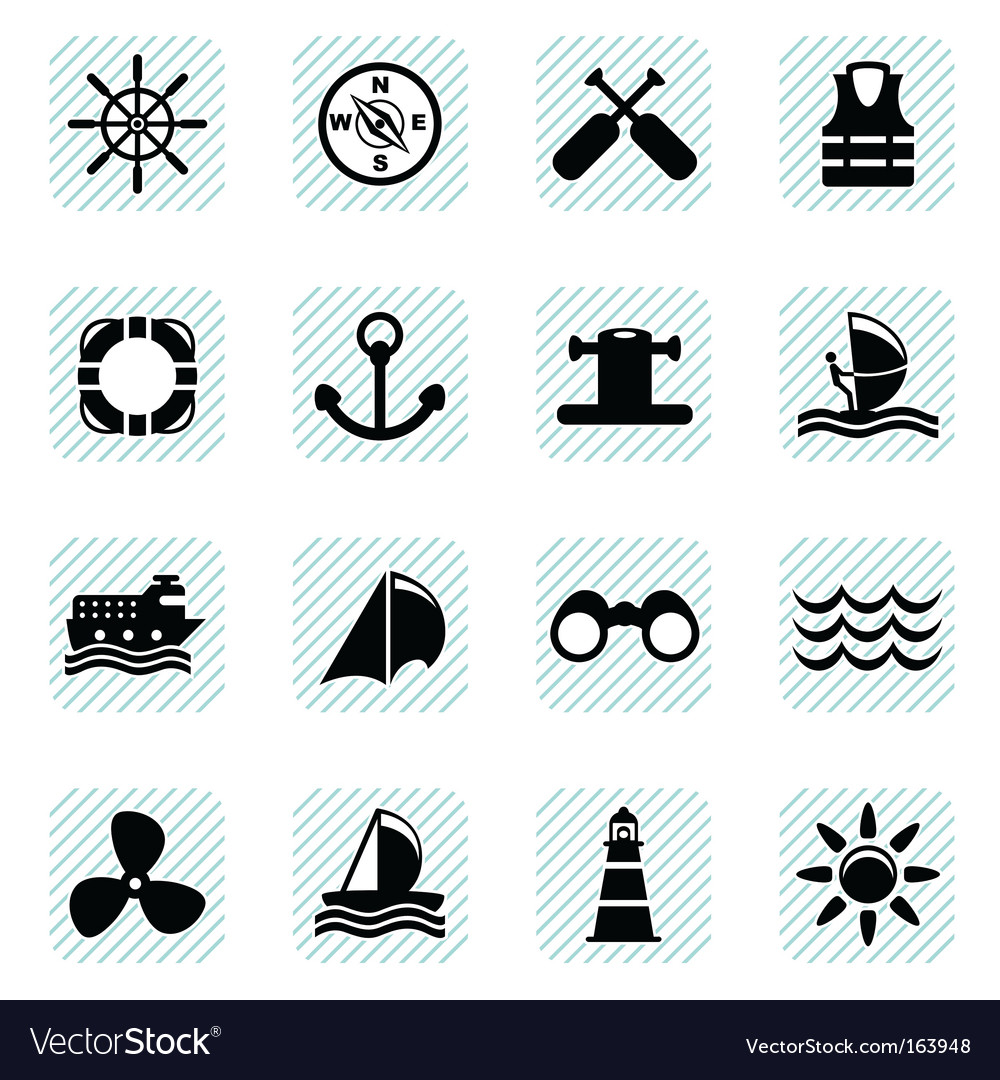 Sailing icons set vector | Price: 1 Credit (USD $1)