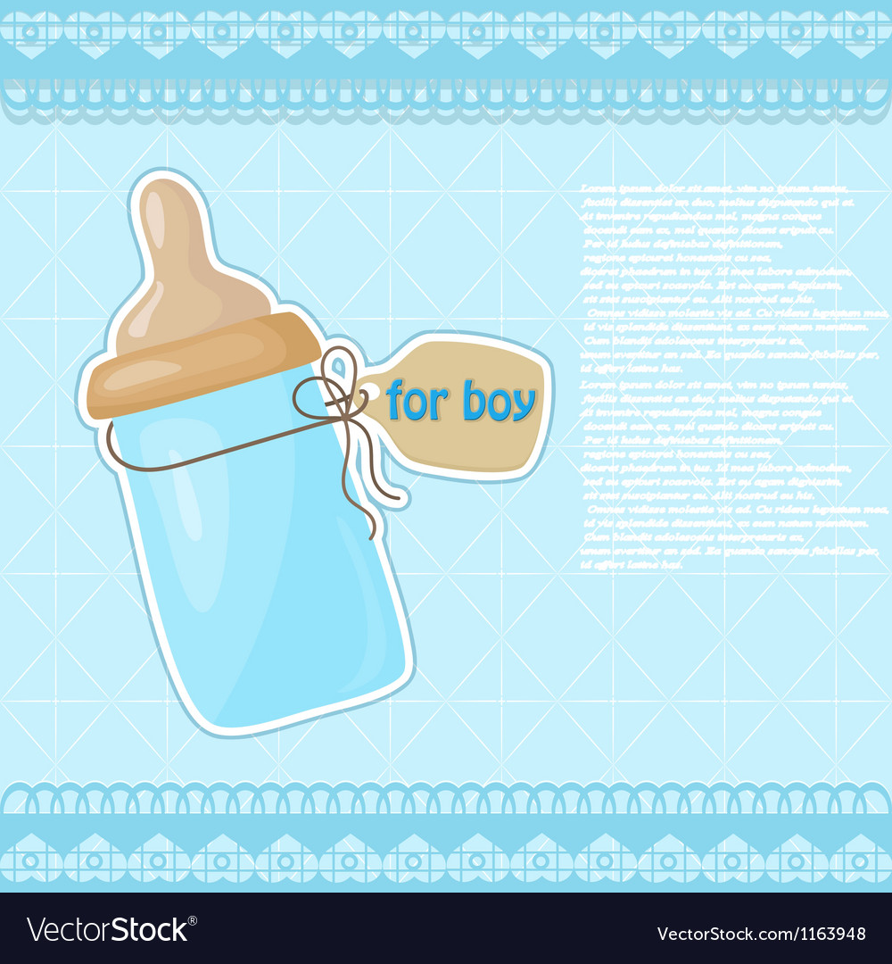 Vintage blue patterned bottle of milk for the boy vector | Price: 1 Credit (USD $1)